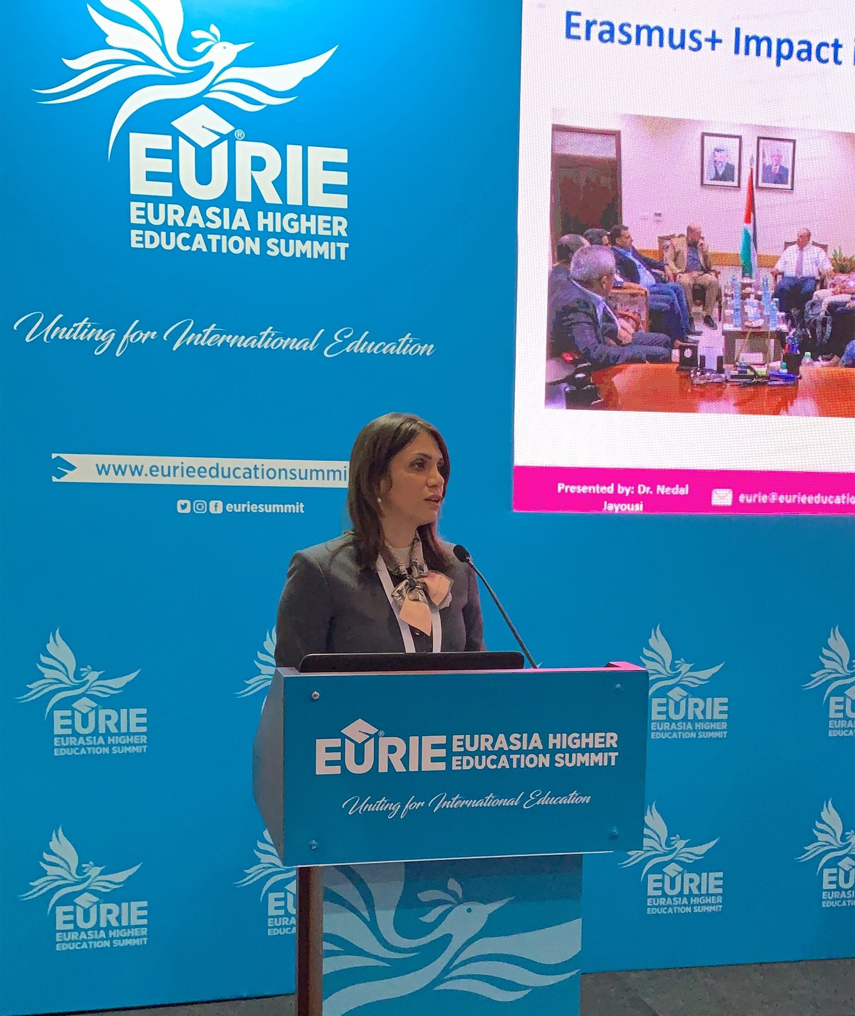 "Dr. Dalal Iriqat's Participation in the summit's session about: the world with Eurie, entitled ""Leadership in the Higher Education- Arab American University as a model"""