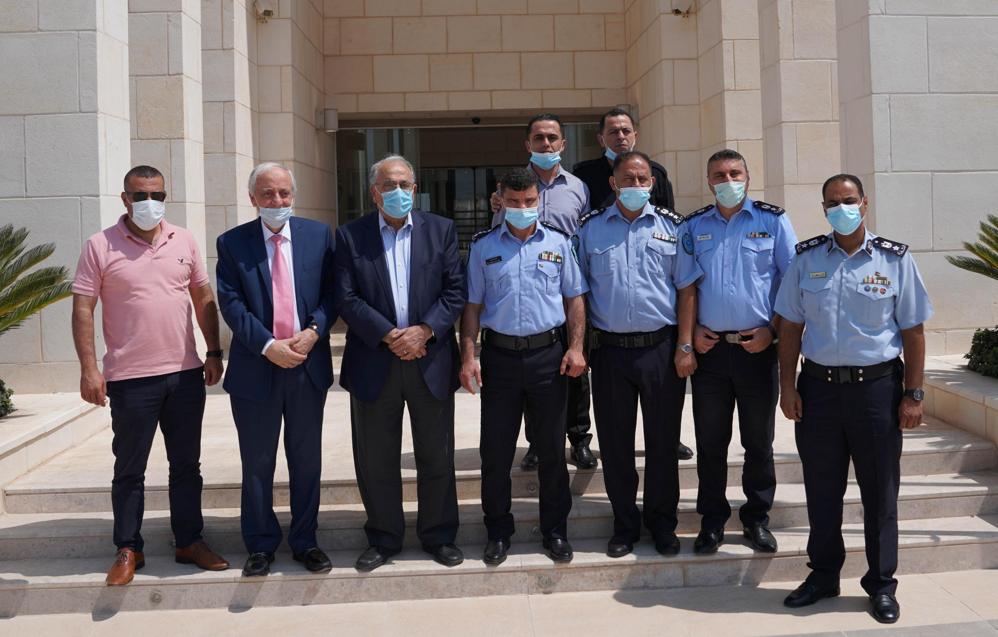 Prof. Ali Zeidan Abu Zuhri- the university President welcomed Brigadier Azzam Jbara- the Police Chief of Jenin and the accompanied delegation in his office.