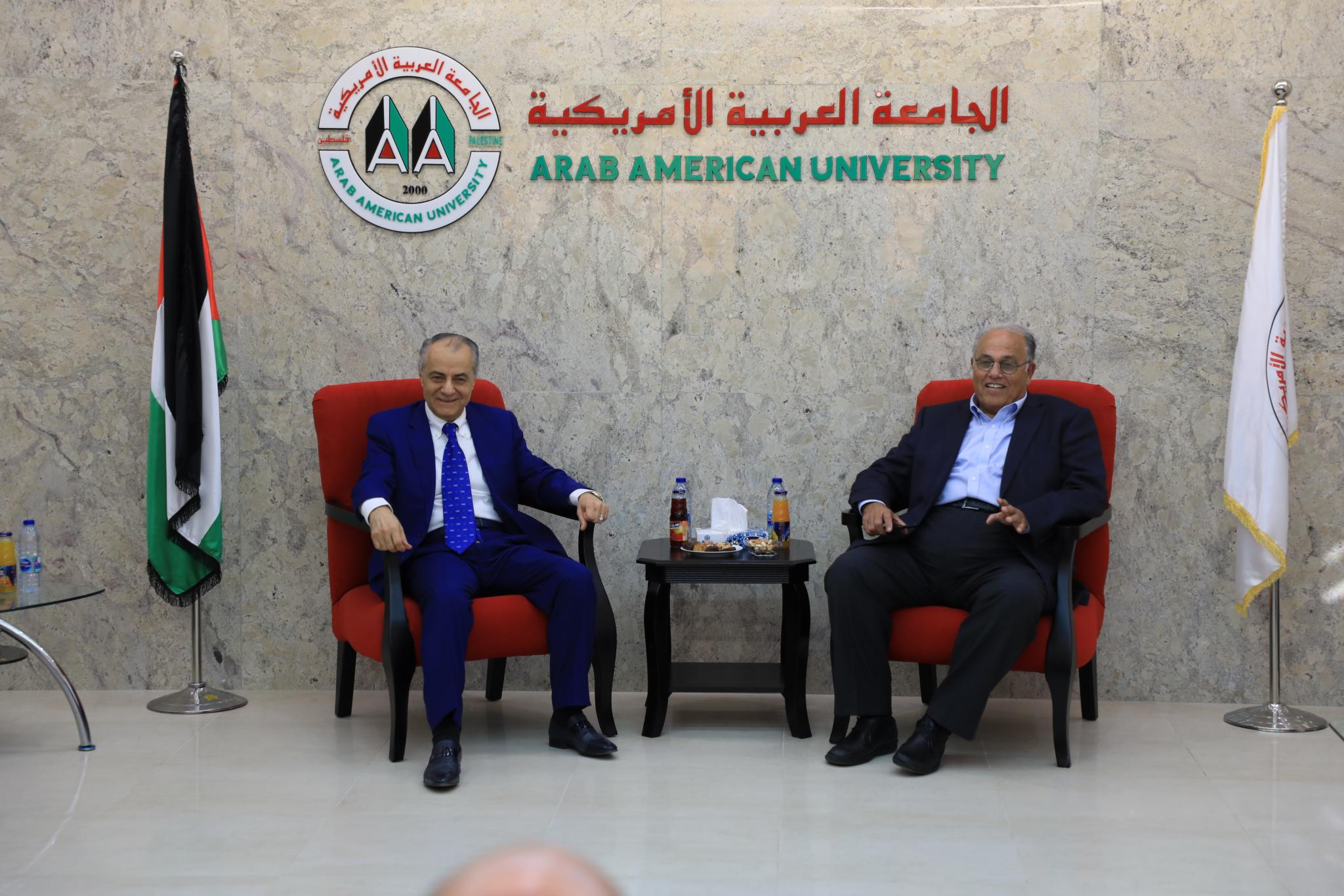 Accompanied by Eng. Zuhair Hijjawi- a Board of Directors Member, a delegation from the Palestinian Labor Council from Dubai and the Northern Emirates has visited the Arab American University.