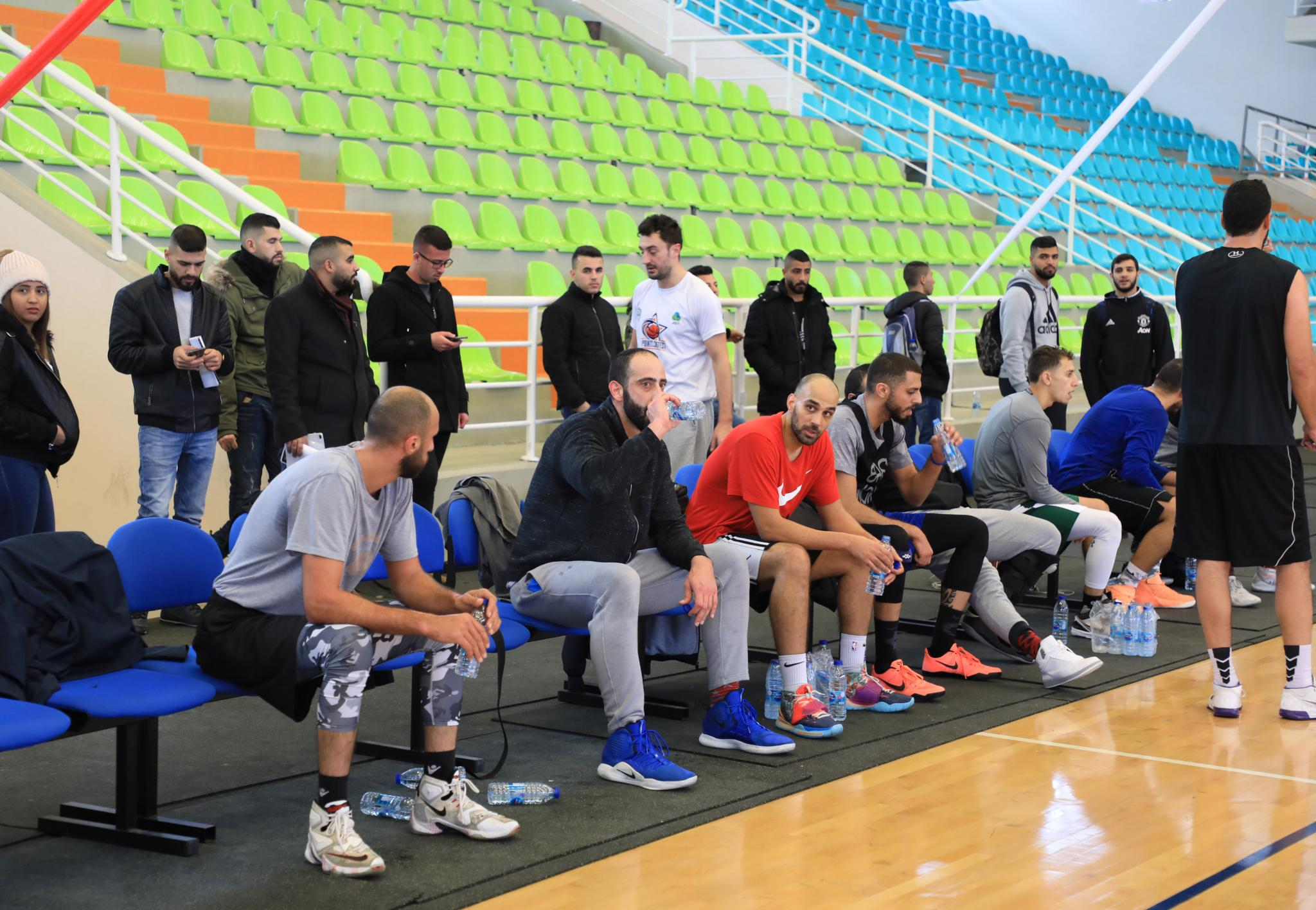Part of the training of the Palestinian basketball team in the sport hall in AAUP