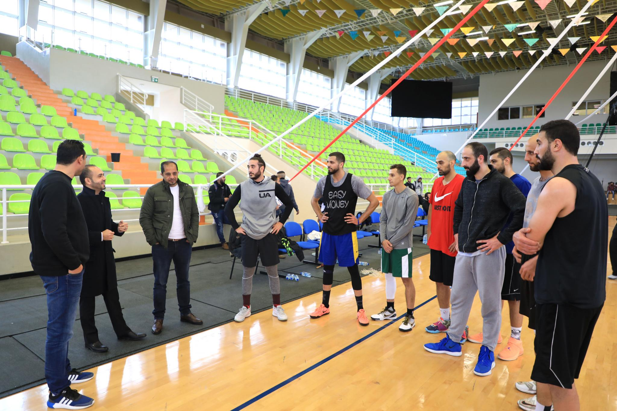 The Palestinian basketball team in their training in the sport hall in AAUP