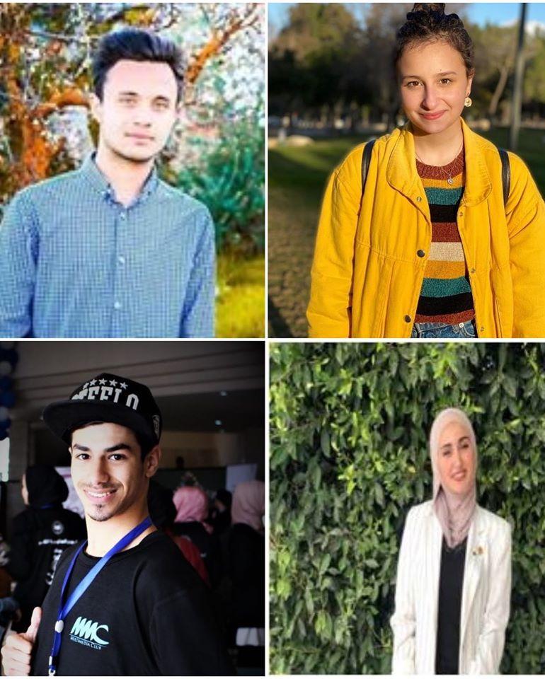 الفريق الذي يضم كل من الطلبة لينا زحايكة، نور دراغمة، هيثم شرباتي، أحمد سعد