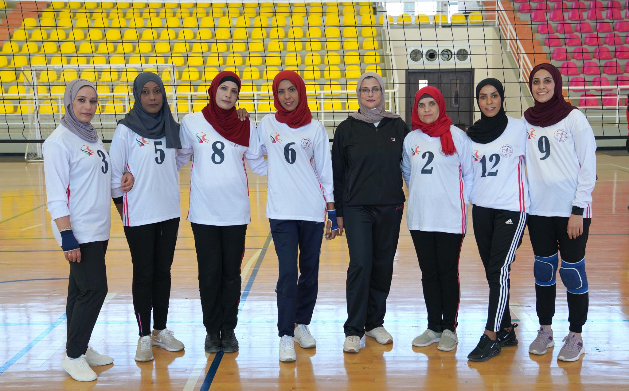 Women's volleyball match between AAUP team and Marj Ebin Amer team