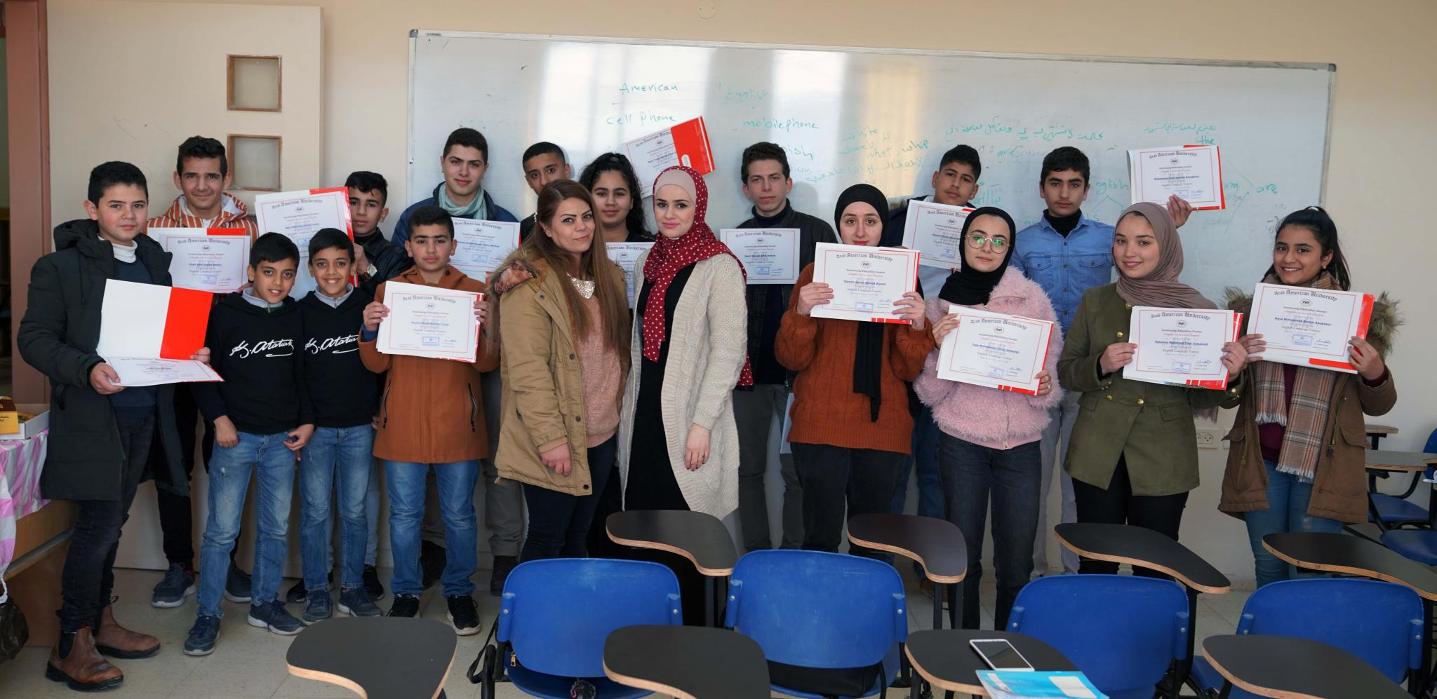 تخريج المشاركين في  دورات نظمها مركز التعليم المستمر في الجامعة العربية الامريكية