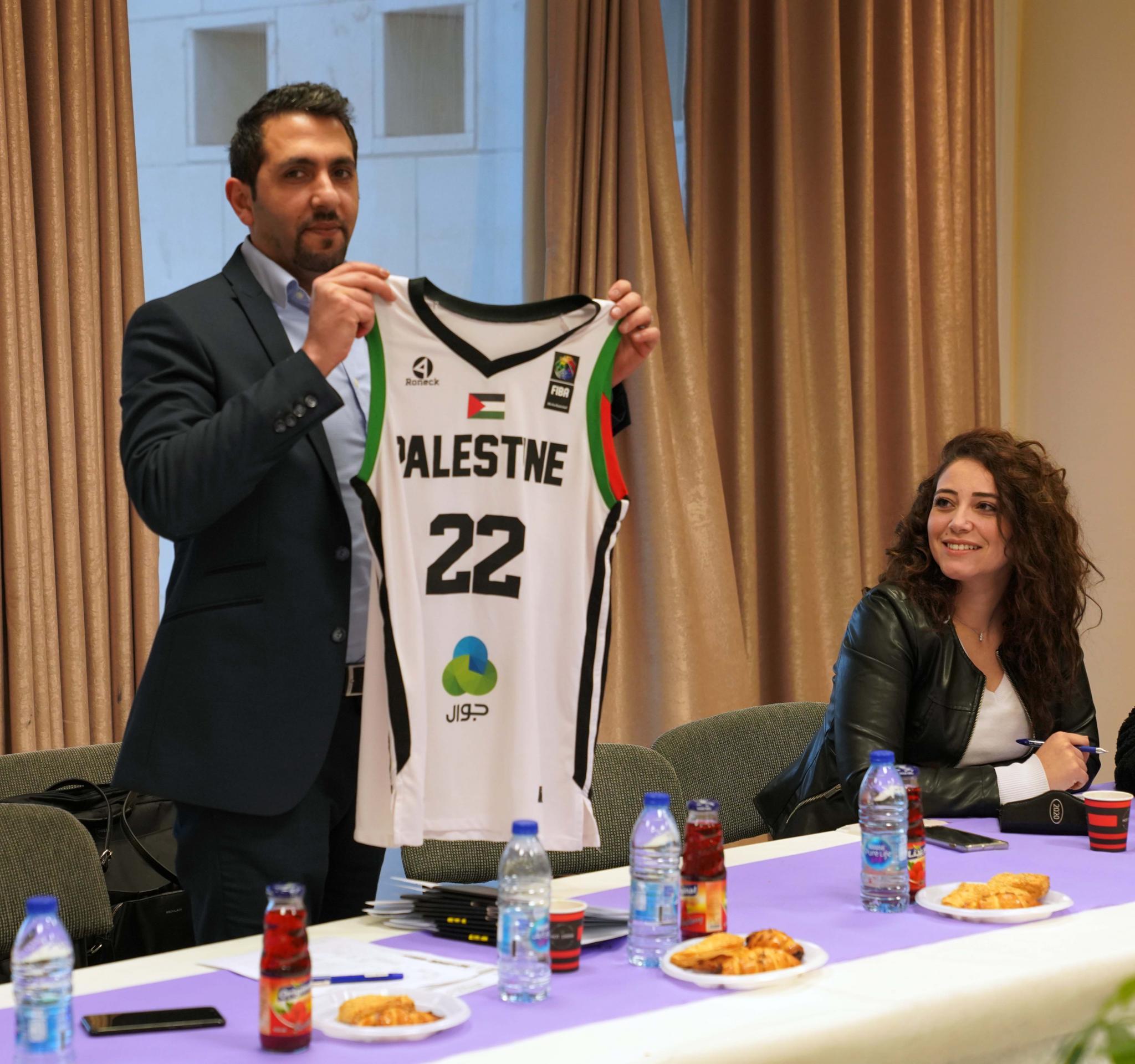 The Palestinian basketball team shirt
