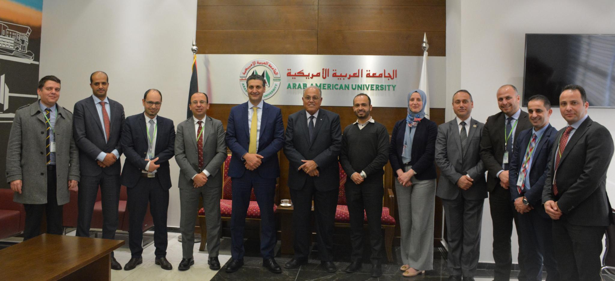 "Mr. Abdul Majeed Melhem- the General Manager of PALTEL ""Jawwal"" and Prof. Ali Zeidan Abu Zuhri- the University President, with the presence of Eng. Bara Asfour- the Assistant to the President, Dr. Jumana Jaradat- the Executive Manager of the Medical Center, Prof. Hisham Darwish, Mr. Khalid Herzallah along with staff and managers from PALTEL."
