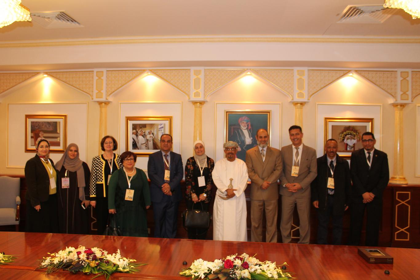 President of Sultan Qaboos University during a meeting with the representatives of the deans of nursing colleges in the Arab universities