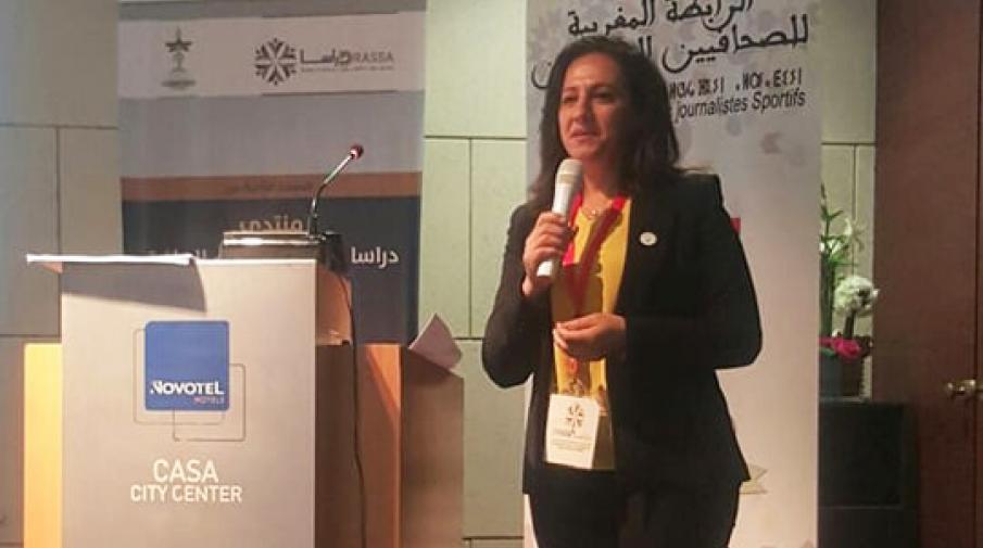 الدكتورة سبأ جرار اثناء مشاركتها كممثل لفلسطين بمنتدى دراسا السنوي لعلوم الرياضة