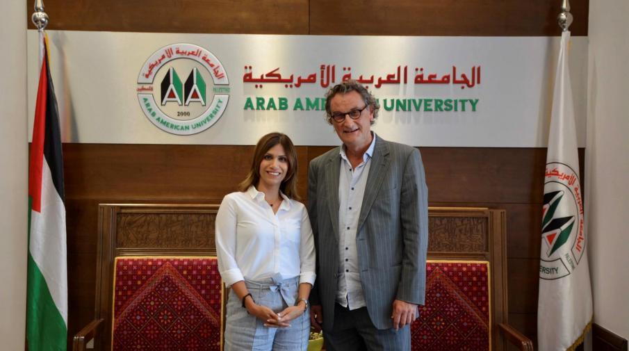 Head of Swiss Palestinian Association visits AAUP campus at Ramallah