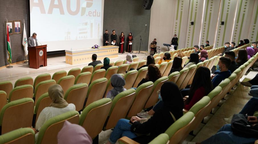 Orientation day for new enrolled students in Ramallah Campus