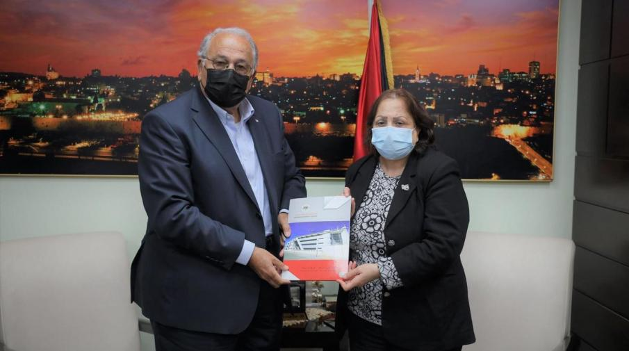 The university President, Prof. Ali Zeidan Abu Zuhri and Dr. May Kaileh- the Health Minister