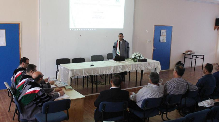 Researcher Hamza Hegawi defending his thesis