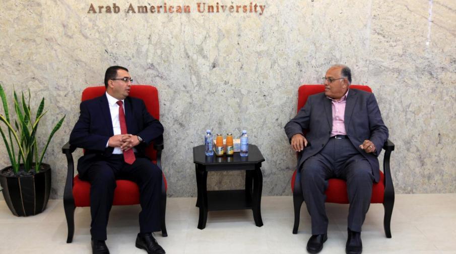 University President Prof. Dr. Ali Zeidan Abu Zuhri hosted the Senior Advisor at the State of Palestine Embassy in Washington-USA Dr. Omar Al Faqih