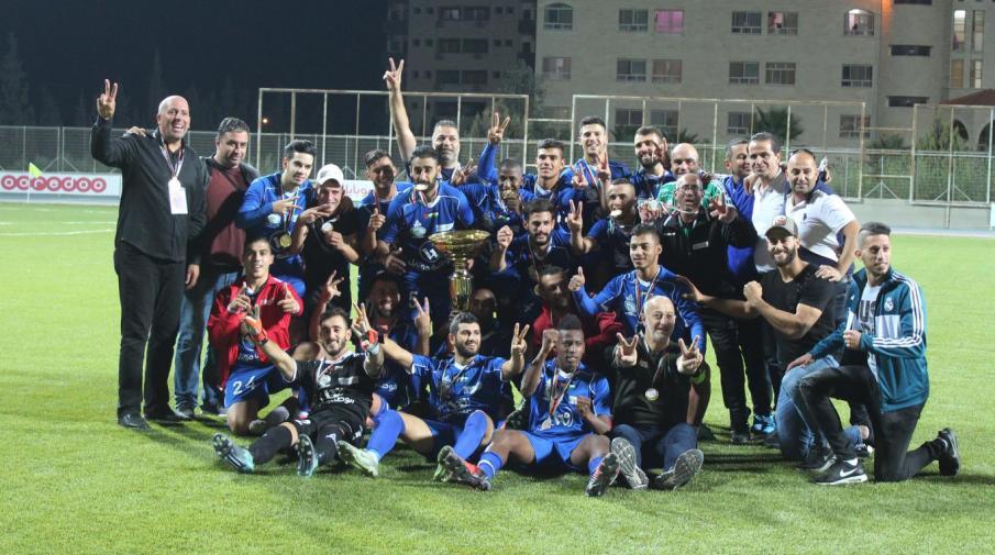 جانب من تتويج هلال القدس بطلا للسوبر الفلسطيني بكرة القدم