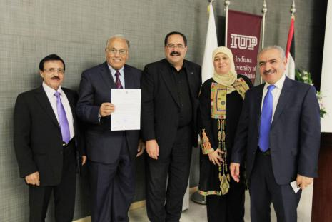 Minister of Education and Higher Education Dr. Sabri Mamdouh Saidam, announcing that the Arab American University got accreditation of the first Business Administration PhD program in Palestine