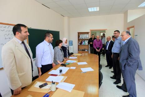 Arab American University President Prof. Dr. Ali Zeidan Abu Zuhri, his Assistant for Administrative and Financial Affairs Mr. Faleh Abu Arra and Public Relations Director Mr. Fathi Amour, during checking the elections progress