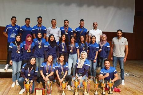 AAUP earned the honoring positions of the Central Ceremony of Sports Activities 2018\ 2019 at Birzeit University