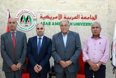 The University president Prof. Dr. Ali Zidan Abu Zuhri welcomes the Undersecretary of Media Ministry Dr. Fayes Abu Aita