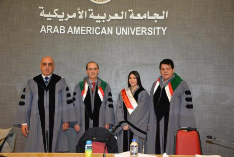 Defense of Master Thesis by the researcher Jenin Wahib Abu Amouneh, student of strategic planning program.