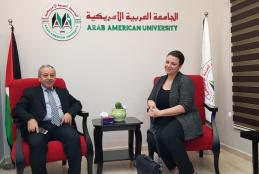 University VP for Training Affairs Dr. Nizam Diab welcoming the German Academic Exchange Service DAAD representative in Palestine Christena Shtalbook