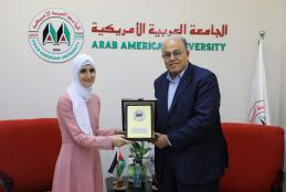 "The University President honors The student Ghadeer Khalil Who won First Place in the national competition of ""student university researcher"" for the year 2018"