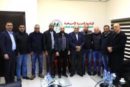 The University President welcoming Social Youth Center of Jenin Camp delegation