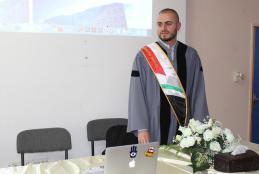 Researcher Bilal Ghanem defending his thesis