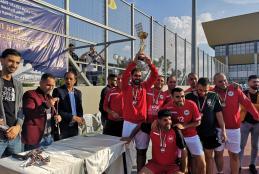 منتخب الجامعة لكرة القدم يفوز  ببطولة المؤسسات بخماسي كرة القدم