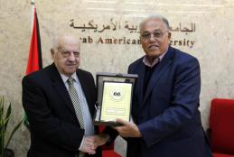 University President Prof. Dr. Ali Abu Zuhri welcoming the Anti-Corruption Commission Chairman Rafiq Al-Natsheh