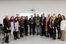 CEO OF THE PALESTINIAN TELECOMMUNICATION GROUP MR. AMMAR AL-AKER VISITS THE UNIVERSITY RAMALLAH CAMPUS