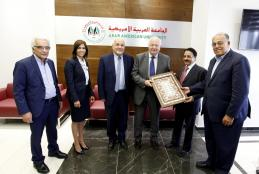 The Former Spanish Foreign Minister Moratinos and Palestine's Ambassador in the UN Mansour