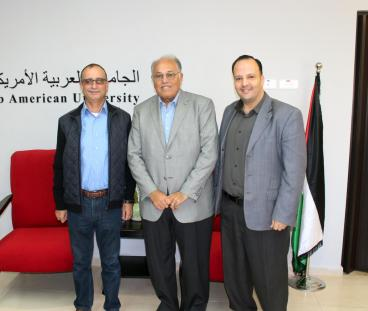 ASSISTANT UNDERSECRETARY OF THE HIGHER COUNCIL FOR YOUTH & SPORTS MARWAN WISHAHI, AND DIRECTOR OF THE ACADEMIC AFFAIRS DEPARTMENT IN THE PALESTINIAN POLICE, COLONEL MANSOUR KHOZAIMIA VISITS THE UNIVERSITY