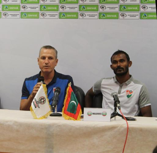 FOOTAGE FROM THE PRESS CONFERENCE FOR PALESTINE AND MALDIVES TEAMS COACHES
