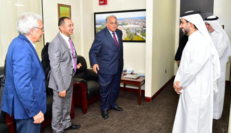 Prof. Dr. Hasan Derham, Prof. Dr. Ali Zeidan Abu Zuhri, Prof. Dr. Walid deep, and Dr. Moath Sabha.