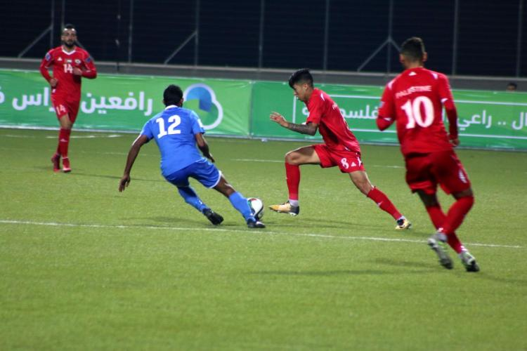 مباراة المنتخب الوطني الفلسطيني والمنتخب المالديفي على ستاد الجامعة العربية الامريكية الدولي