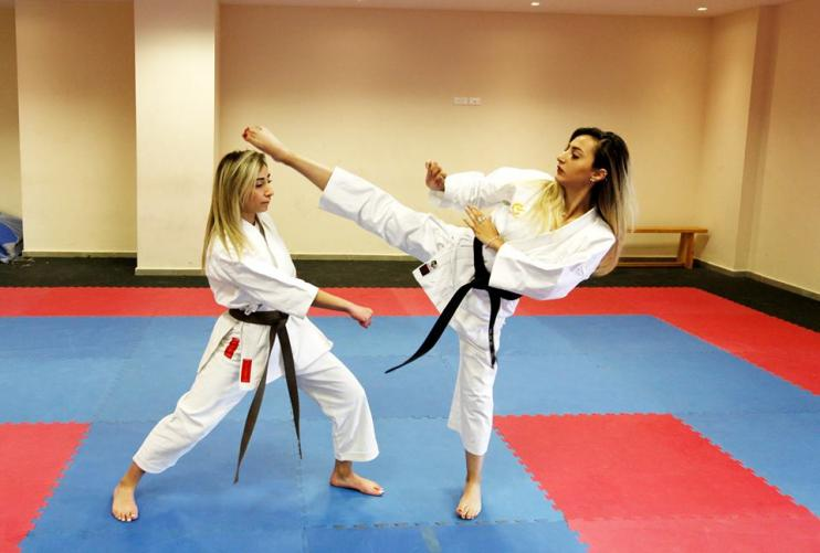 Pictures of the Karate Training at the Closed Gym