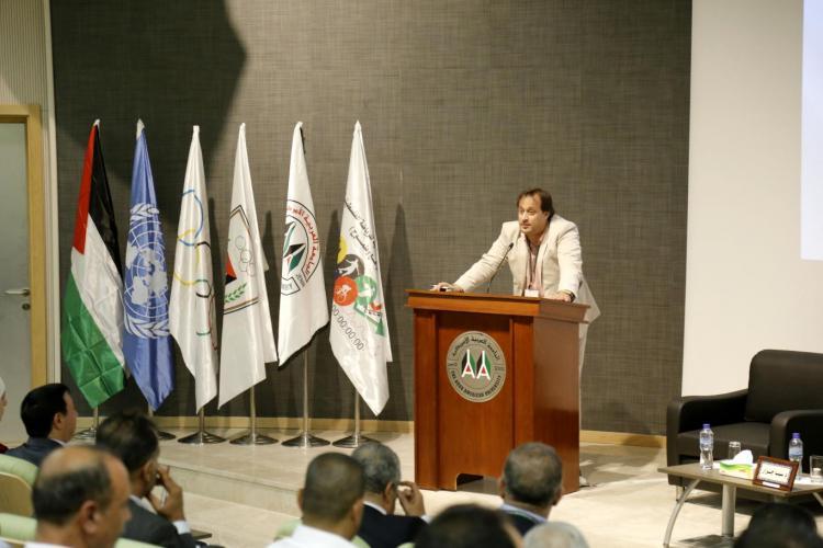 ورشة تطوير الرياضة التي استضافتها الجامعة في مبنى الدراسات العليا في رام الله