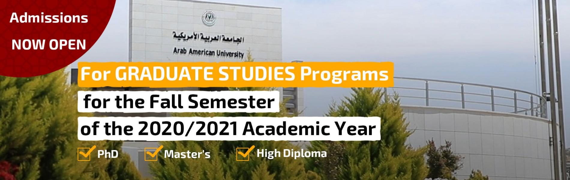 Start Accepting Applications for Admission to the Faculty of Graduate Studies Programs for Fall Semester of Academic Year 2020/2021