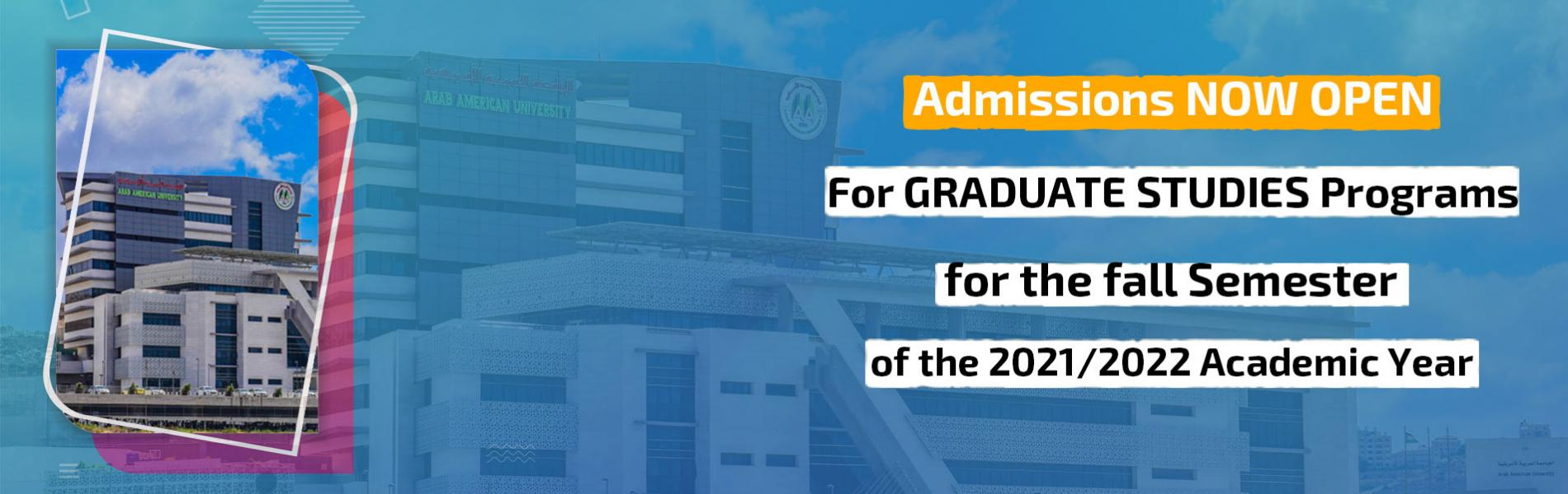 Announcement - Admission Applications are now being Accepted to the Faculty of Graduate Studies Prog