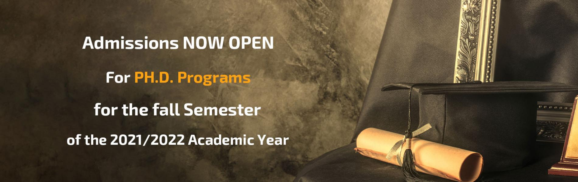 Admission Applications are now being Accepted to the Ph.D. Programs for Fall Semester of Academic Ye