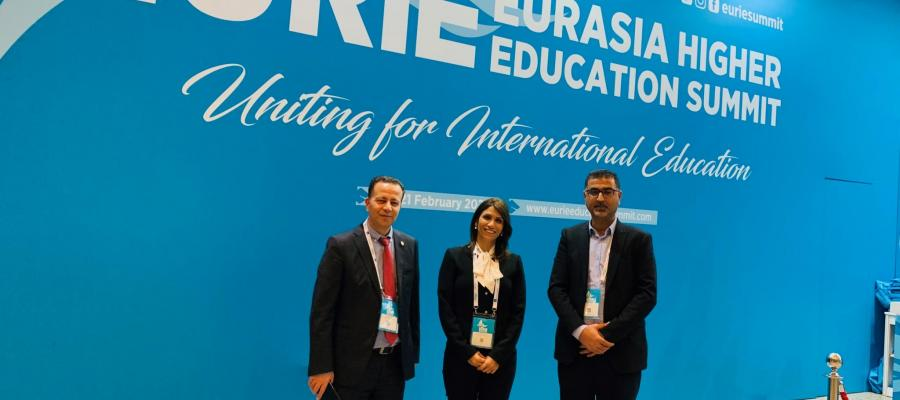 The participation of Dr. Dalal Iriqat- the VP for International Realtions, Dr. Ahmad Sadaqa- the VP for Planning and Quality Affairs and Mr Fathi Imour- the Public Relations Manager in the Eurasia Higher Education Summit in Istanbul